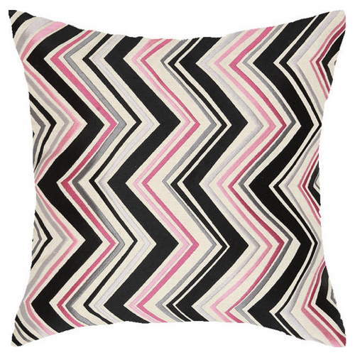 Down filled pillow, geometric design pillow, embroidered pillow, pink pillow, embroidered pink pillow, pillow, chevron pillow,