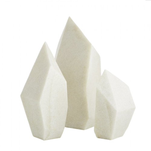 Nerine Sculptures, Nerine Sculptures Set of 3, ivory finish, Faux Marble, paperweights, modern sculptures