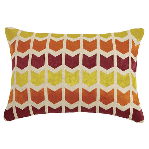 "embroidered pillow. 14""x20"" pillow, rectangular pillow, pillow, multi colored pillow, pattered pillow, red pillow, orange, pillow, yellow pillow"