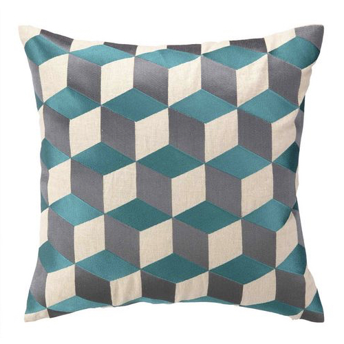 "Cubism Pillow, 20x20 pillow, 20""x20"" pillow, sea blue pillow, sea blue cubism pillow, pillow"