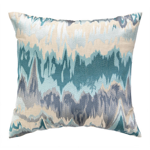 Aqua Pillow, Seismographic pillow, 20x20 pillow, graphic design pillow, aqua graphic pillow, embroidered pillow, embroidered graphic pillow