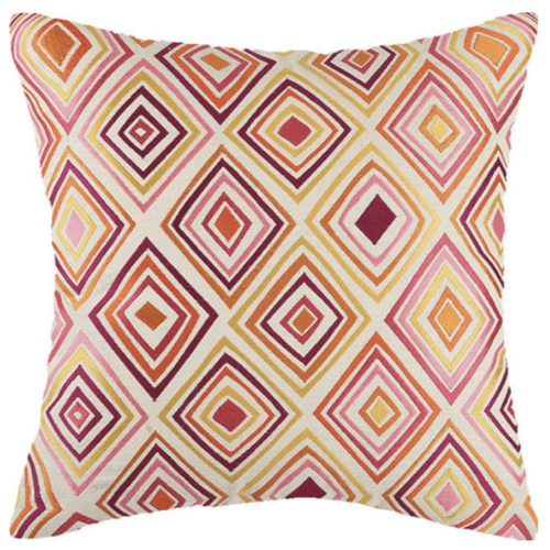 "Bullseye pillow, 20""x20"" pillow, pink orange pillow, pink pillow, orange pillow, pillow, soft goods,"