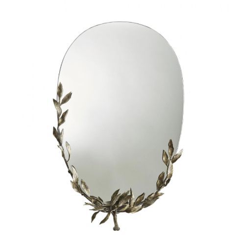 Foliage Mirror, mirror, glamorous mirror, antique brass mirror, leafy mirror, ovoid mirror