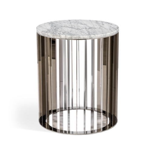 Greer Side Table, Carrara White, Carrara, Marble, stainless steel, accent table, side table, marble