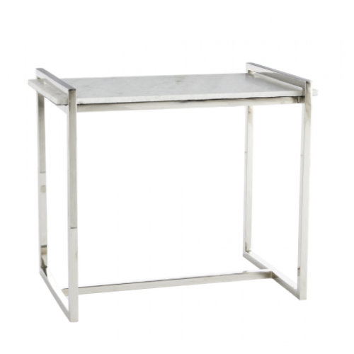 Hollis Side Table, white marble, polished, stainless steel, modern side table, accent table, furniture