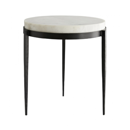 Kelsie Side Table, Marble, Hand-forged, black iron legs, accent table, side table, furniture table