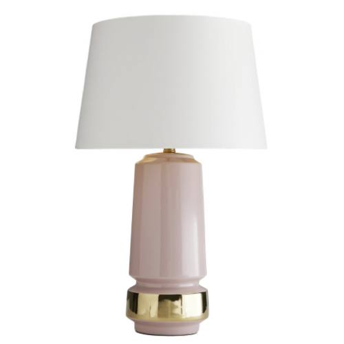 Mabel Lamp, ceramic, petal pink , gold, brass, lighting, table lighting,