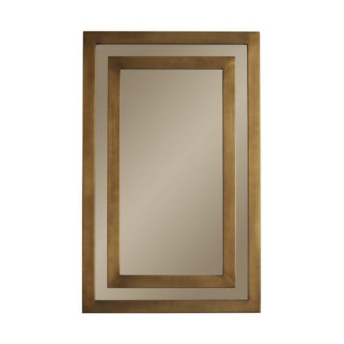 Macintosh Mirror, antiqued brass, hangs both vertically or horizontally, rectangular mirror, large mirror, living room mirror,