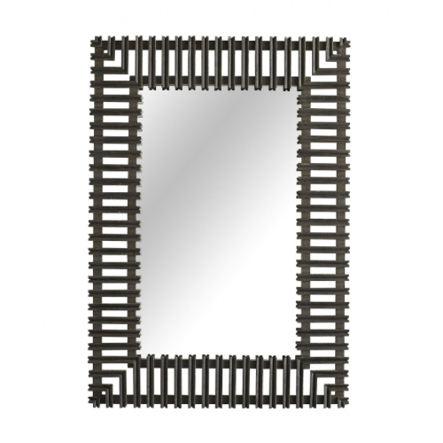 Marshall Mirror, rectangular, cut wood frame, weathered frame, wood mirror, living room mirror, bedroom mirror