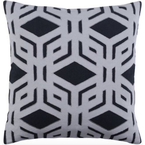 Millbrook pillow, black and gray pillow, black and grey pillow, black, soft goods, pillow, down filled pillow, pillow, geometric pillow
