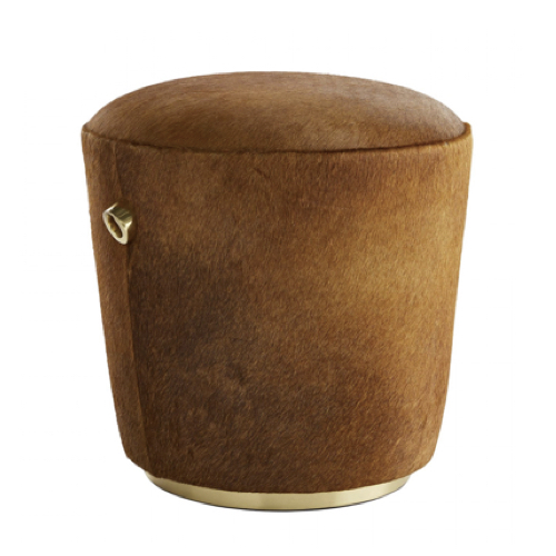 Monroe Ottoman, pouf, natural hide, warm brown