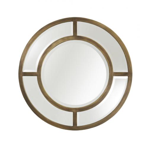 Orlando Mirror, round mirror, antiqued brass mirror, circular mirror,