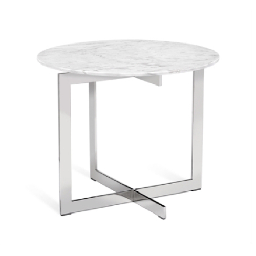 Riley Round Marble, Side Table, Himalaya white marble, stainless steel, accent table, ornate side table, side table, modern side table, asymmetrical accent table, asymmetrical side table,
