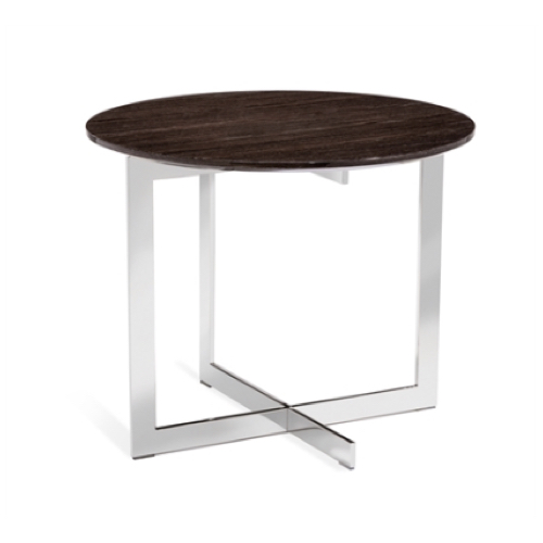Riley Round Side Table, Smoked Grey Oak, stainless steel, accent table, livingroom side table , asymmetrical side table