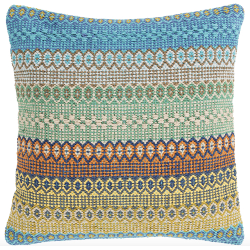 Talara, pillow, hand woven, blue, yellow, green, 100% cotton, soft goods, multi color pillow, soft pillow, blue and green pillow