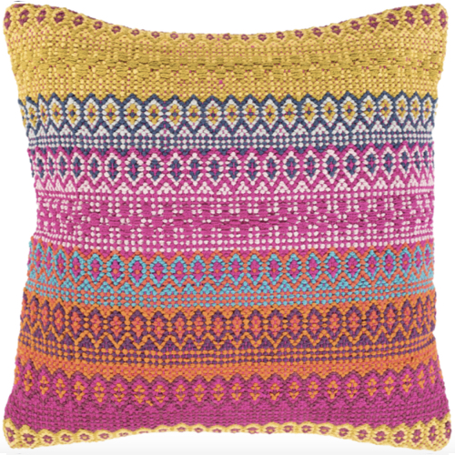 Talara pillow, hand woven, pink, yellow, orange, 100% cotton, soft goods, multi color pillow, pink and yellow pillow, soft pillow
