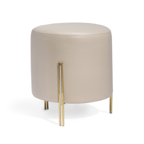 Tatum Stool, polished brass, polished nickel, cream, faux leather, microfiber seat, pouf-stool hybrid, pouf,