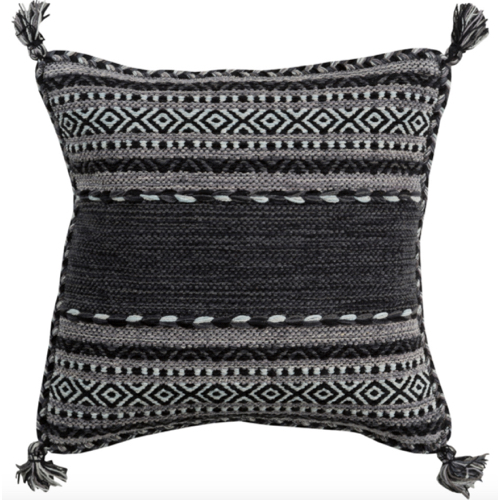 Trenza, pillow, down filled, black, charcoal, cotton, Chenille-Cotton, soft goods, soft pillow, charcoal pillow, black and white pillow