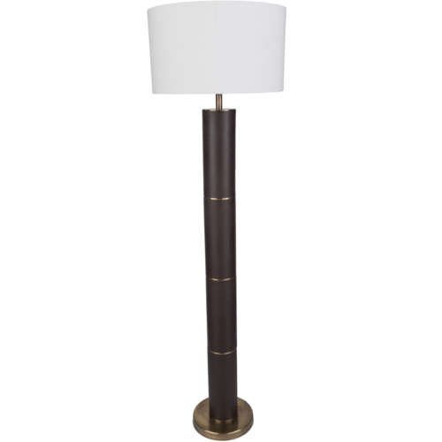 Andrews Floor Lamp, floor lamp, dark brown, leather, floor lamp, lighting, floor lighting, floor, light