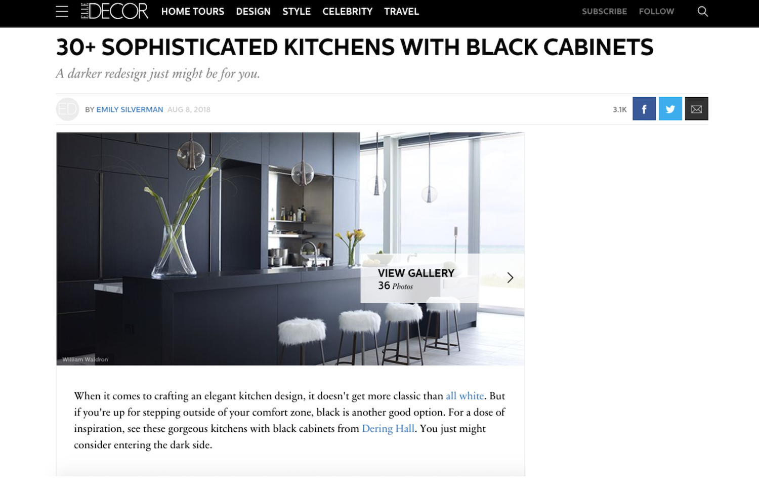 Pulp Design Studios Dark Kitchen Feature Elle Decor