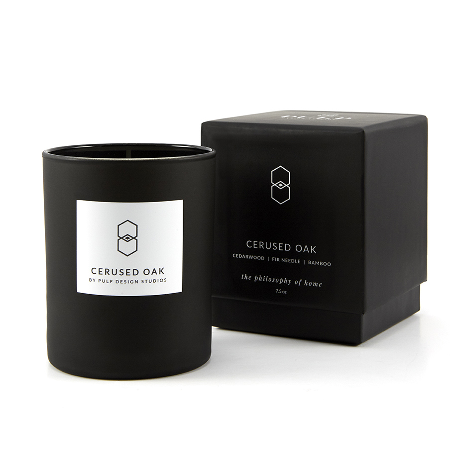 Cerused Oak Box and Candle 7.5 oz