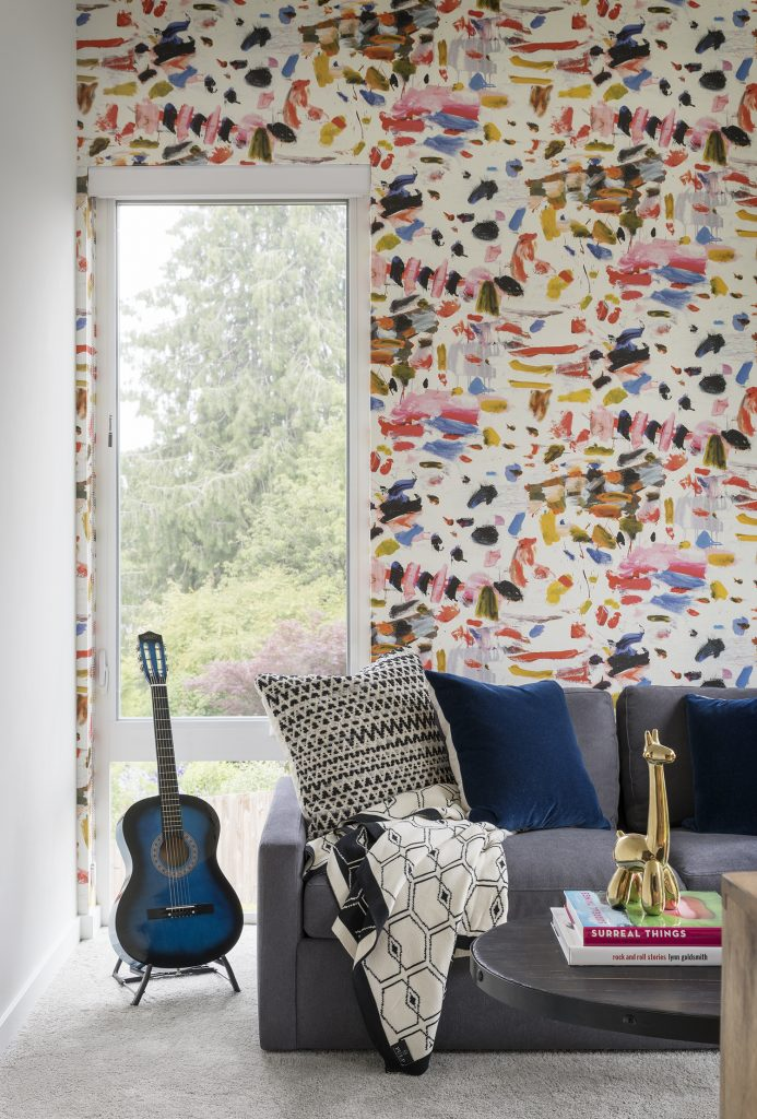 modern eclectic design, unique furniture, where to get furniture, seattle modern home, seattle home ideas, seattle interior design, seattle interior design ideas, playroom ideas, music room ideas, splatter paint wallcovering, splatter paint wallpaper, art room ideas, how to style a guitar