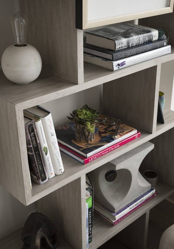 Pulp Design Studios Handsome Highrise - Master Bedroom Bookshelves Detail