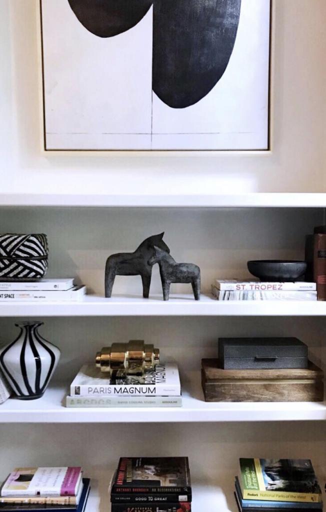 art shelves books souvenirs