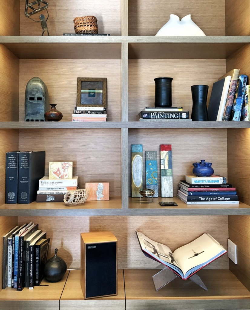 shelves art books hidden storage